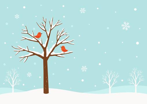 Winter background.Winter tree with birds