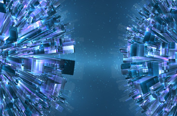 vector abstract 3d crystal. a view of the roofs of the city, a large chaotic set of glass pendants.