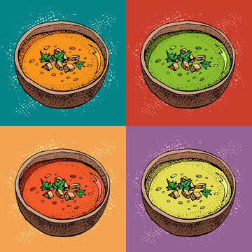 Cream soup vector background. Hand drawn bowl of soup with spices. Pumpkin, tomato, broccoli soup. Vegetable pop art style pattern. Detailed vegetarian food sketch.
