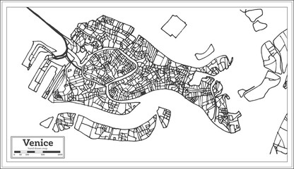 Venice Italy City Map in Retro Style. Outline Map.
