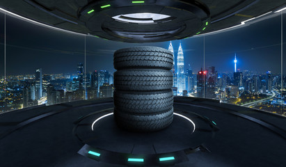 Car tires pile on a Futuristic interior design empty space room with large windows and city urban landscape