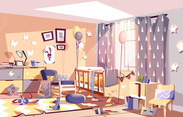 Little child messy room interior with scattered toys and traces of dirty palms on furniture cartoon vector illustration. Chaos in kids bedroom after birthday celebration party. Hyperactive children