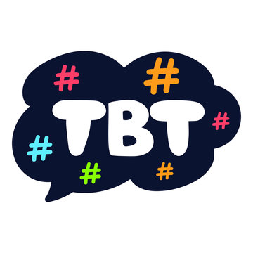 Tbt. Hand drawn speech bubble, vector lettering illustration, concept for social media, stickers design.