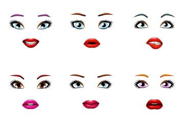 Fashion girls stylish woman lips slightly open mouth female eyes isolated set design vector illustration