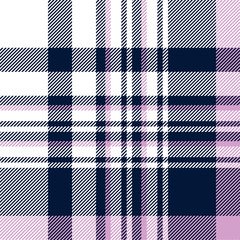Seamless plaid pattern in navy blue, orchid violet and white