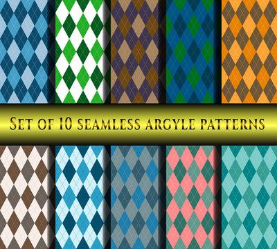 Set of seamless argyle plaid patterns