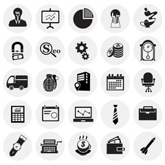 Business icons set on background