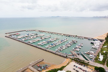 Foto op Plexiglas Stadion Bird's-eye view, Boats and Yacht parking / modern water transport with mooring facility - luxury lifestyle, wealth concept
