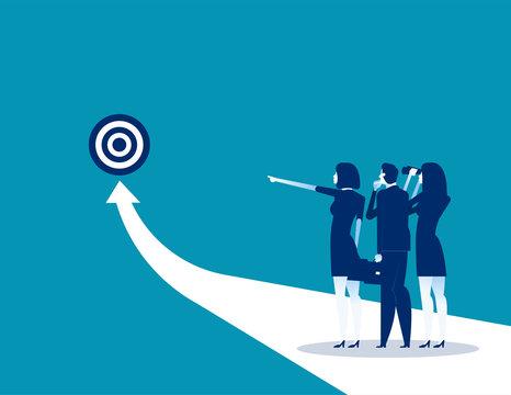 Success. Business team analysis to success. Concept business vector illustration, Flat business cartoon design, Arrow.