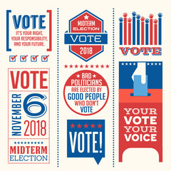 Patriotic design elements and motivational messages to encourage voting in United States 2018 election. For web banners, cards, posters, stickers