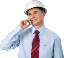 Portrait of Male Architect Wearing Helmet and Talking on Mobile