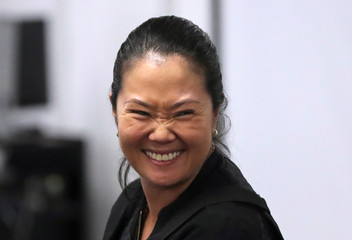 Keiko Fujimori, daughter of former president Alberto Fujimori and leader of the opposition in Peru, is seen in court after her detention as part of an investigation into money laundering, in Lima