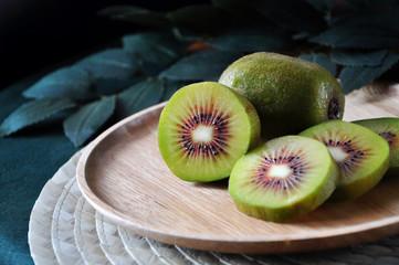 Close up Piece of Red Kiwifruit