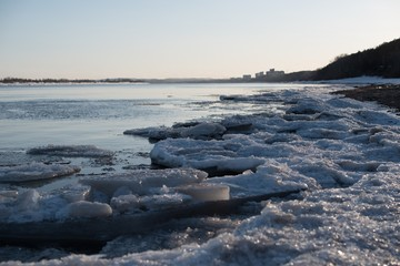 ice floes on the river