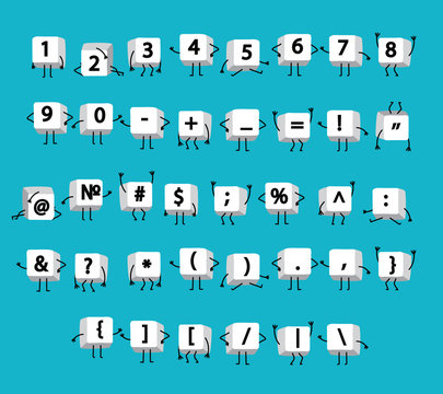 White numbers, math symbols, calculator, punctuation on keyboard computer with legs and arms like funny little men on blue background.