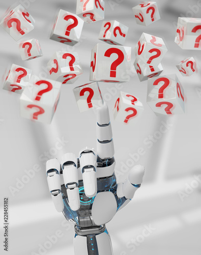 White robot hand using digital question marks 3D rendering