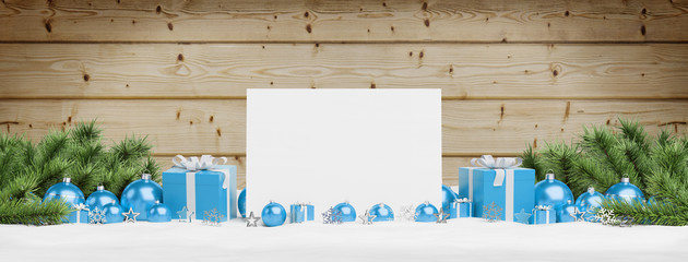 Blank Christmas card laying on blue baubles and gift 3D rendering