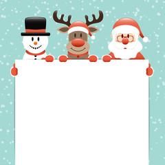 Snowman, Rudolph & Santa Label Snow Retro