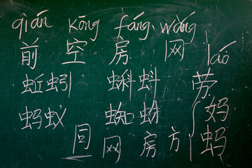 Chinese characters on the blackboard
