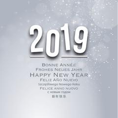 Carte de voeux - Multilangues - Happy New Year 2019