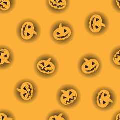 Orange halloween pumpkin with black backlit pattern background. Halloween pumpkin face for celebration happy holiday seamless pattern.