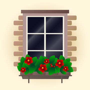 Red flowers on window vector illustration
