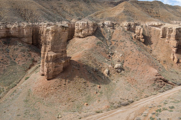 Charyn Canyon Kazakhstan, nature reserve, bizarre rocks and slopes