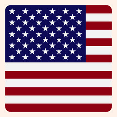 America square flag button, social media communication sign, business icon.