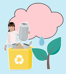 Young girl collecting cans into a yellow recycling bin