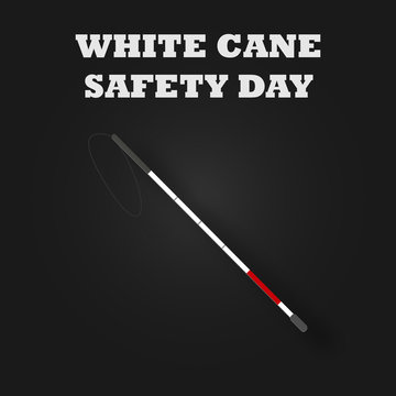 White cane safety day with stick and red striped for disabled people. Blind and disability concept. Vector illustration background