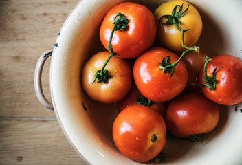 Fresh organic tomatoes in a kitchen