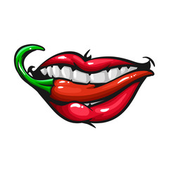 Woman lips with pepper