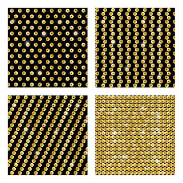 Set of seamless patterns with golden sequins
