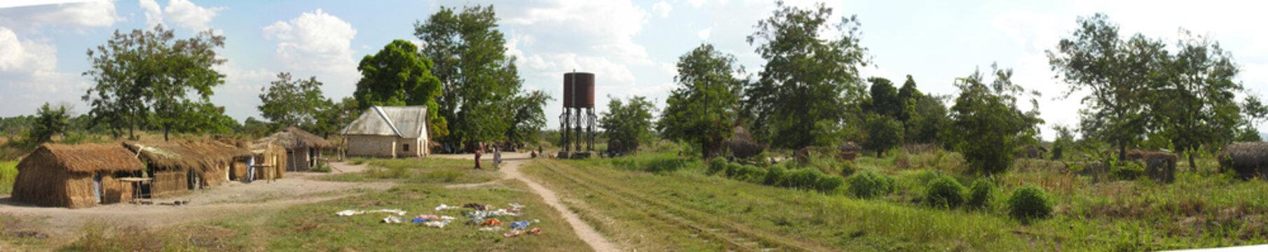 Lwizi, Katanga, Democratic Republic of the Congo: Abandoned railtracks cross rural village