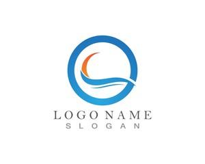 Wave Beach Logo design vector
