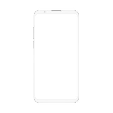 High quality realistic trendy soft clean no frame white smartphone with blank white screen. Vector Mockup phone for visual ui app demonstration.