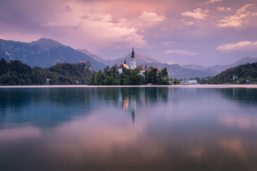 Magical autumn landscape with the island on Lake Bled (Blejsko jezero). Julian Alps, Slovenia, Europe. Attractions.