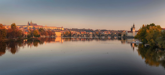 Panorama of the Charles Bridge in Prague. The most famous bridge across the Vltava.
