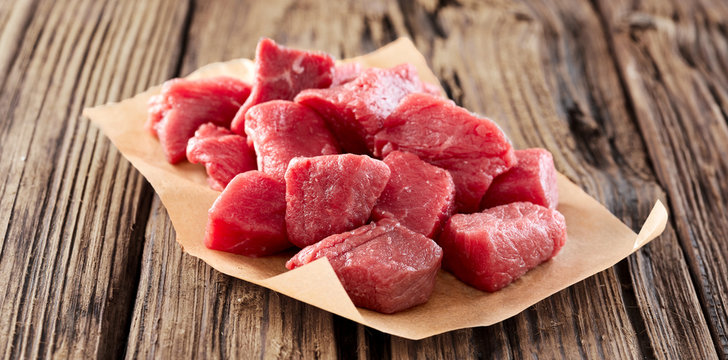 Diced raw fresh meat for goulash or stew