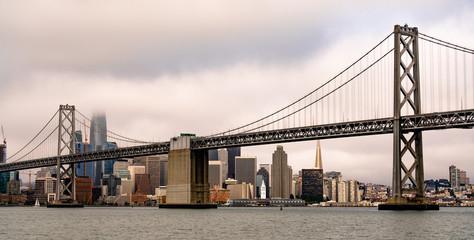 Long Panoramic View San Francisco Ferry Terminal City Skyline Bay Bridge