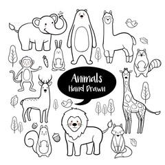 Animals hand drawn doodles set