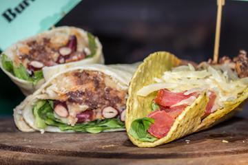 typical Mexican dish tortillas burrito sandwiches