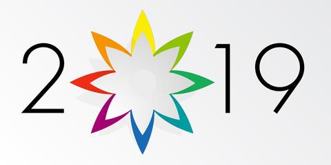 Carte de vœux 2019, design et élégante sur fond blanc, avec une étoile à 8 branches de couleurs différentes