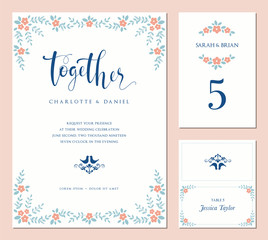 Invitation, table number and name place card design.