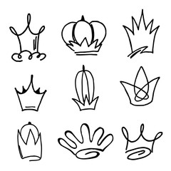 Vector crowns, hand-drawn. Elements of design, logo.