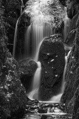 Beautiful tall waterfall flowing over lush green landscape foliage in early Autumn in black and...