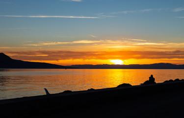 Couple. Sunset. Lake. Color. Silhouette. Love