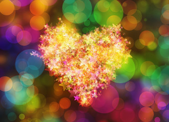Glowing painted heart of golden stars on holiday backgrounds