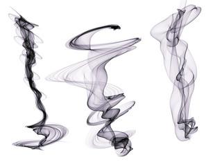 Set of three Indigo digital smoke  plumes isolated on a white background