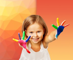 Cute little girl with colorful painted hands on light background